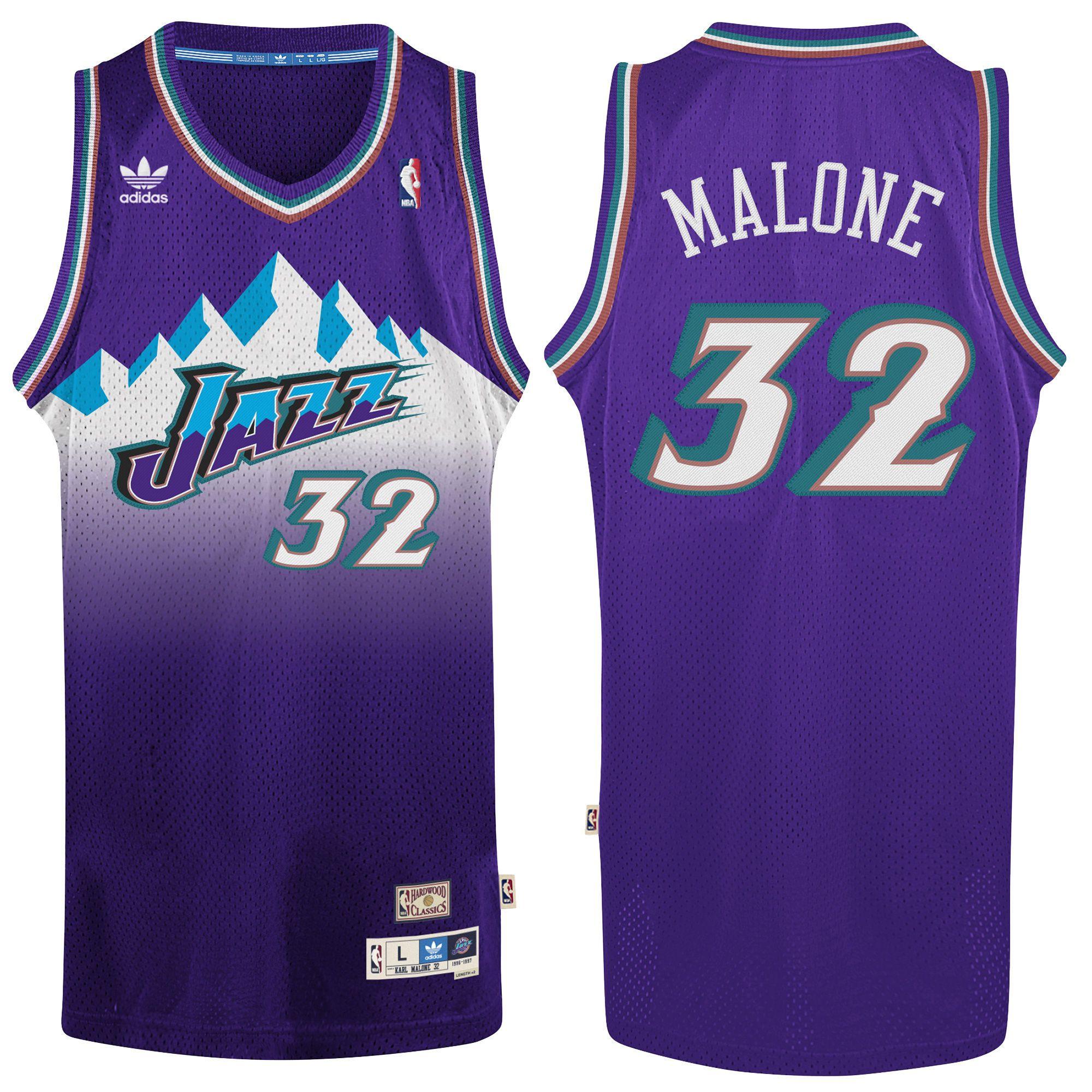 adidas Karl Malone Utah Jazz Purple Hardwood Classic Swingman Jersey
