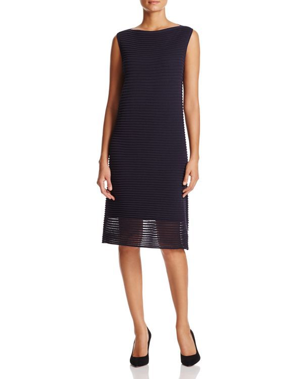 Lafayette 148 New York Sheer-Hem Textured Stripe Dress