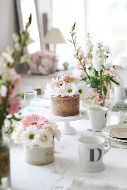 Pink & white table setting.
