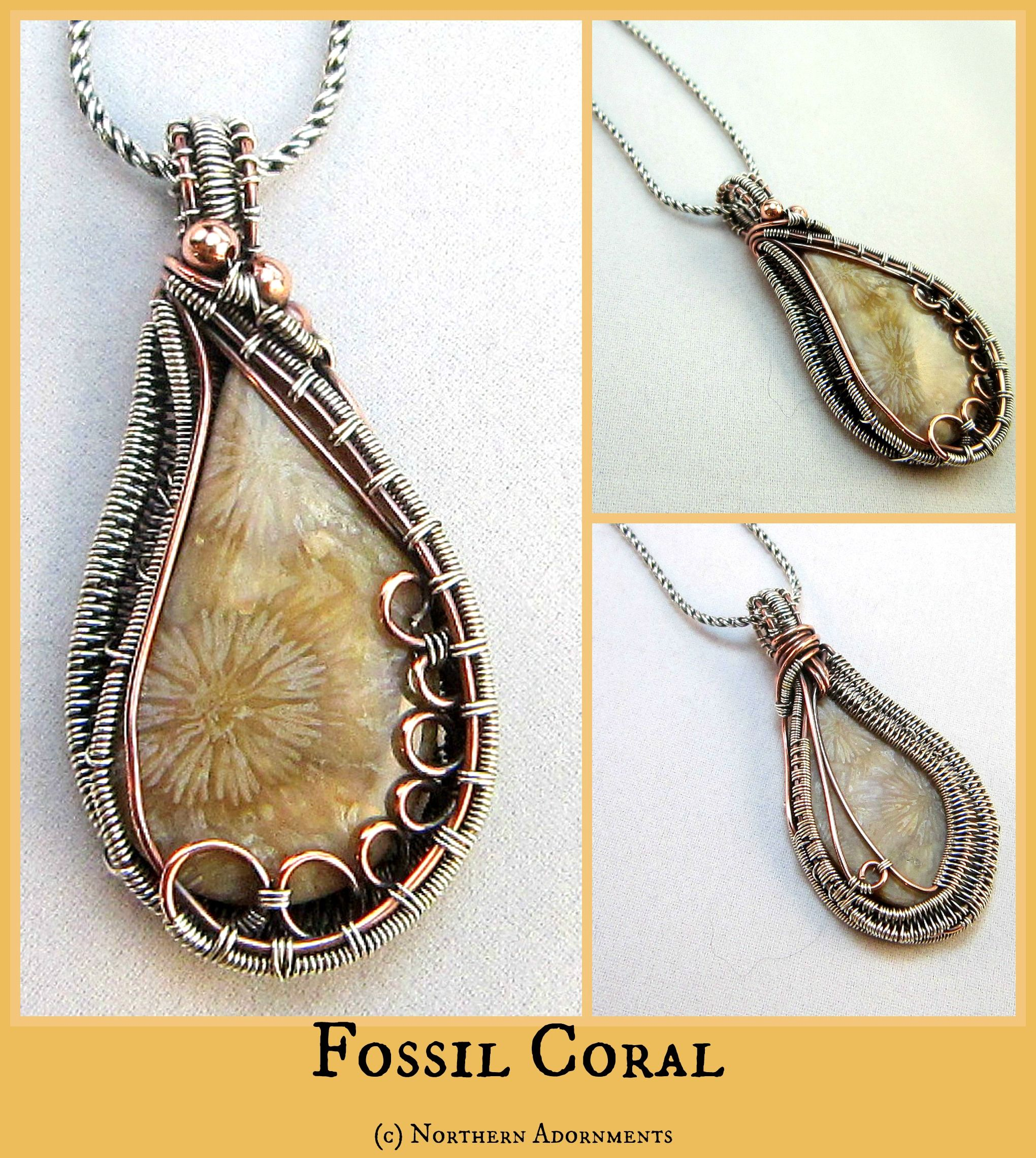 Fossil Coral wire woven pendant. Check me out at www ...
