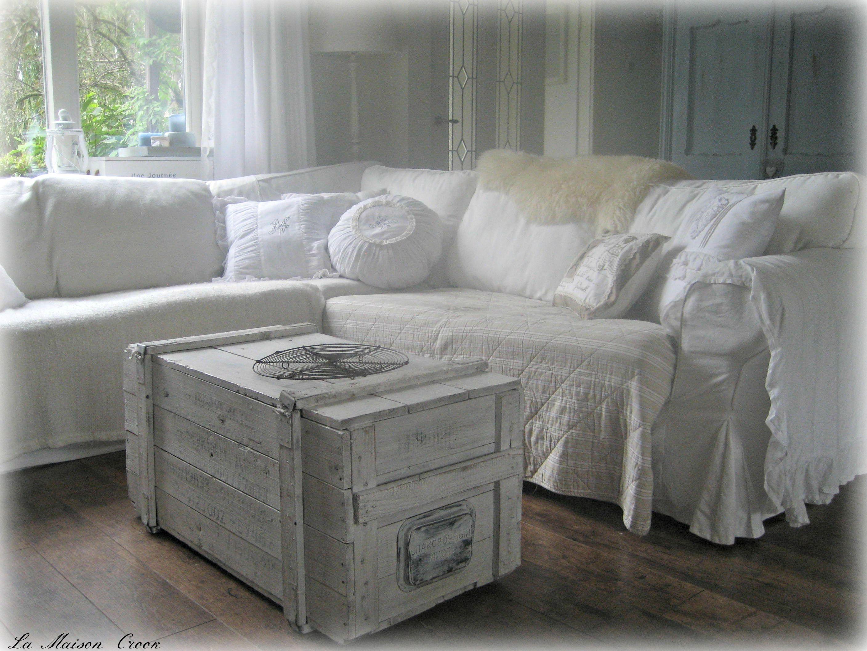 white living room shabby chic / woonkamer in wit brocante landelijke ...