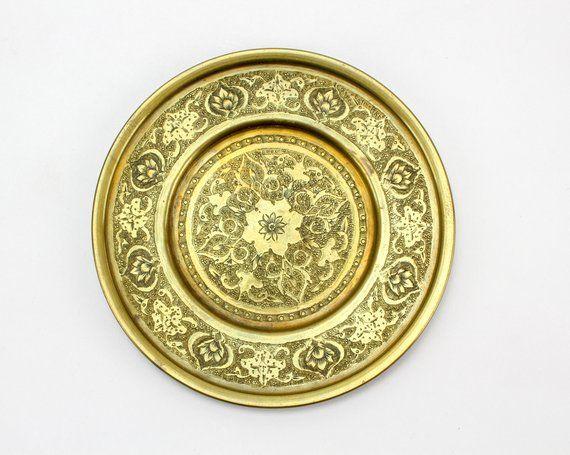 Vintage Brass Lotus Leaf Plate