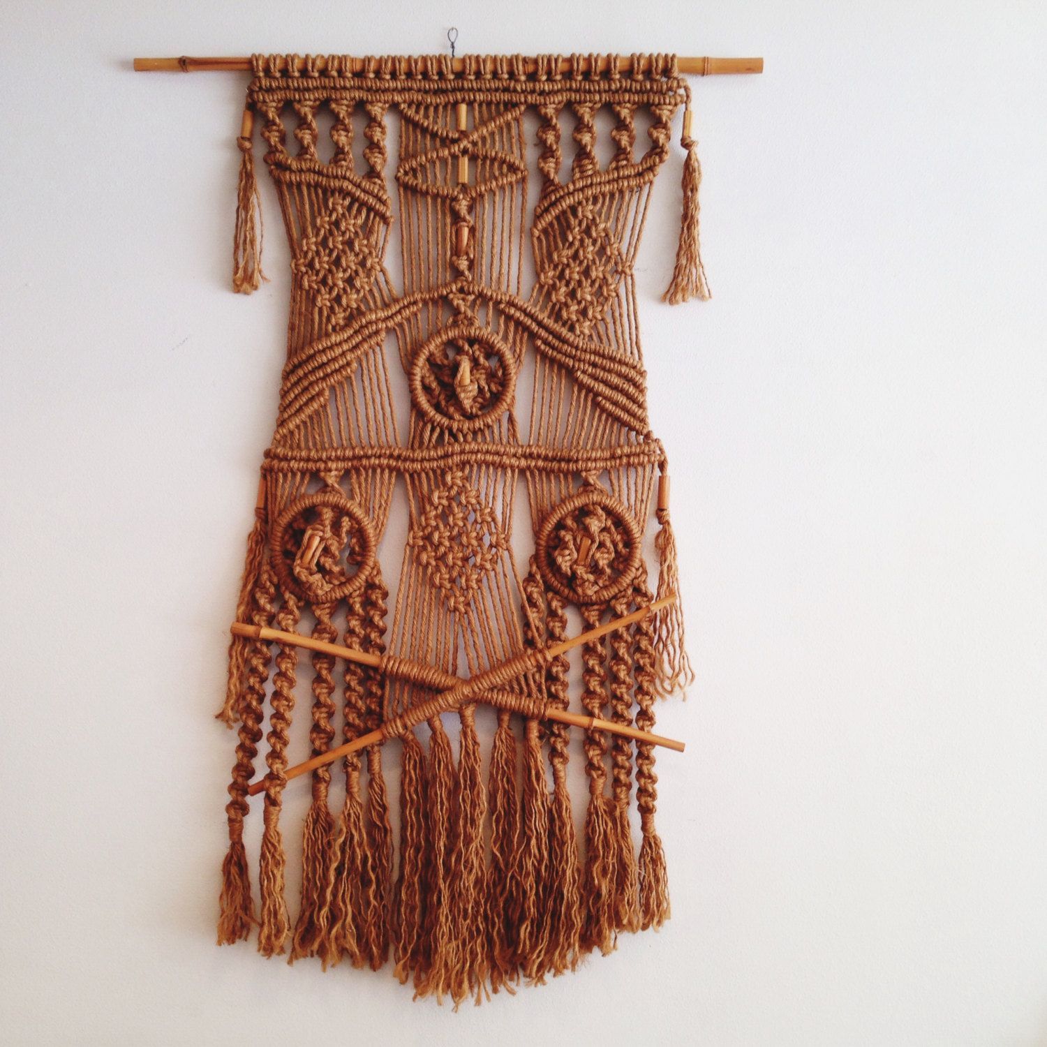 Giant Vintage 1970's Macrame Wall Hanging / Textile Piece