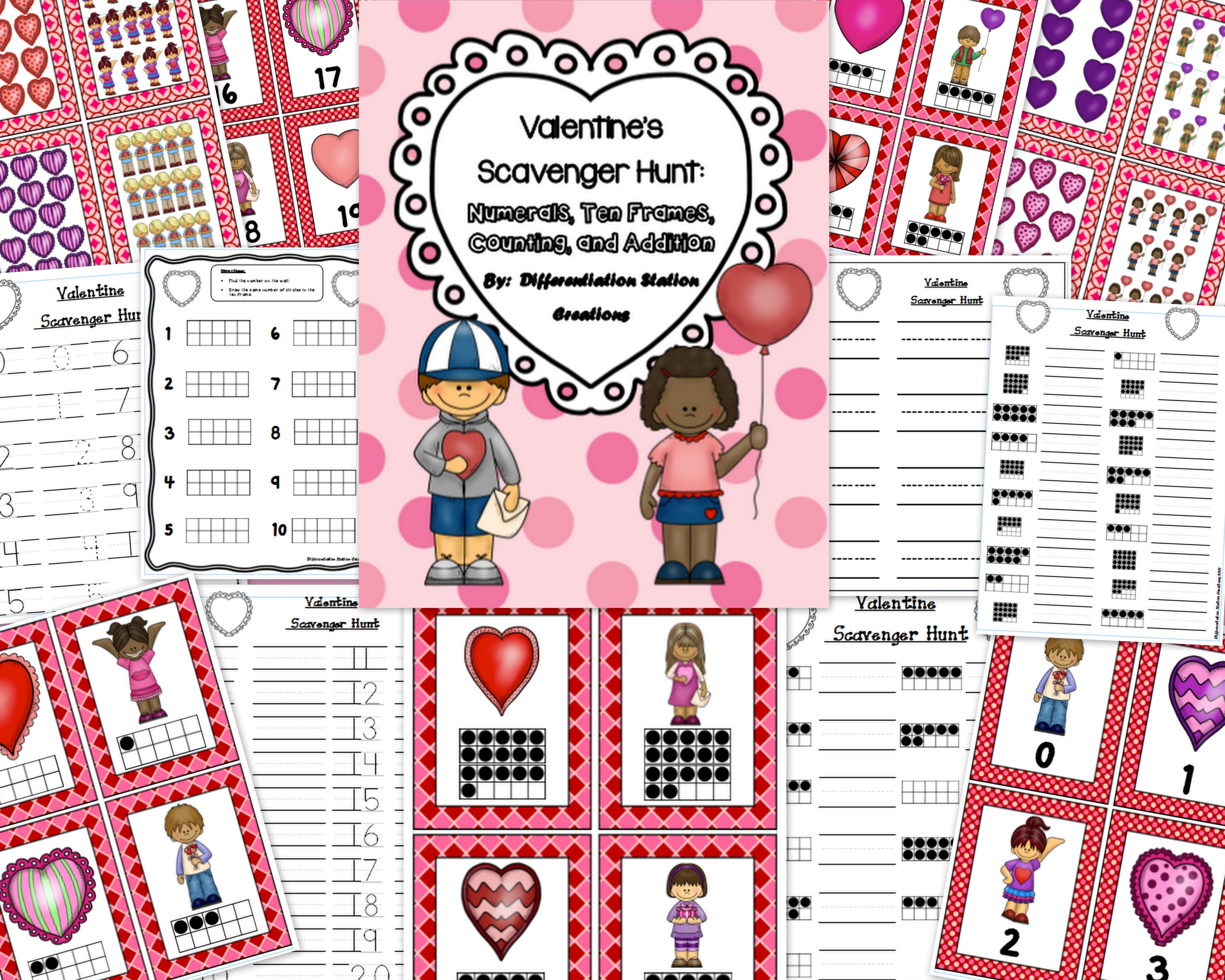 Valentine S Math Scavenger Hunt Numerals Ten Frames Counting And Cardinality