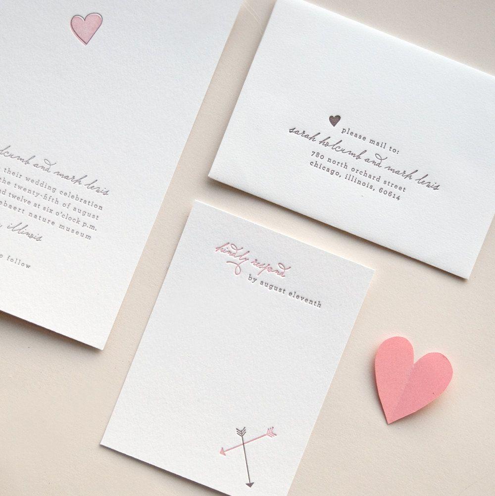 Minimalist pink and gray letterpress wedding invitation with heart