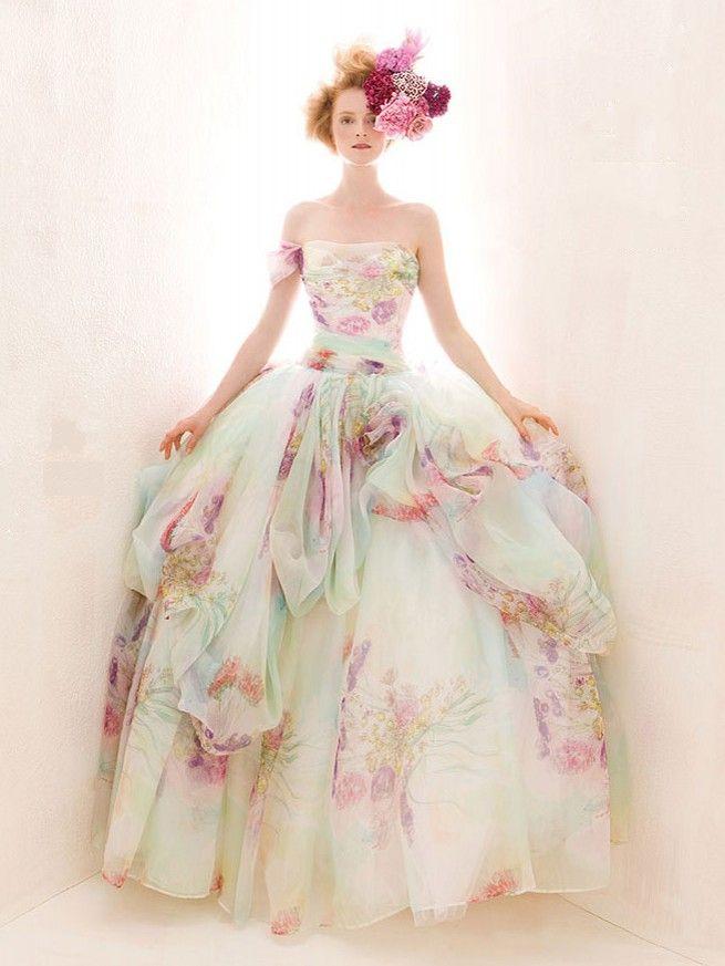 Robe De Mariée Fleurie Robes De Mariée Colorée Robe De