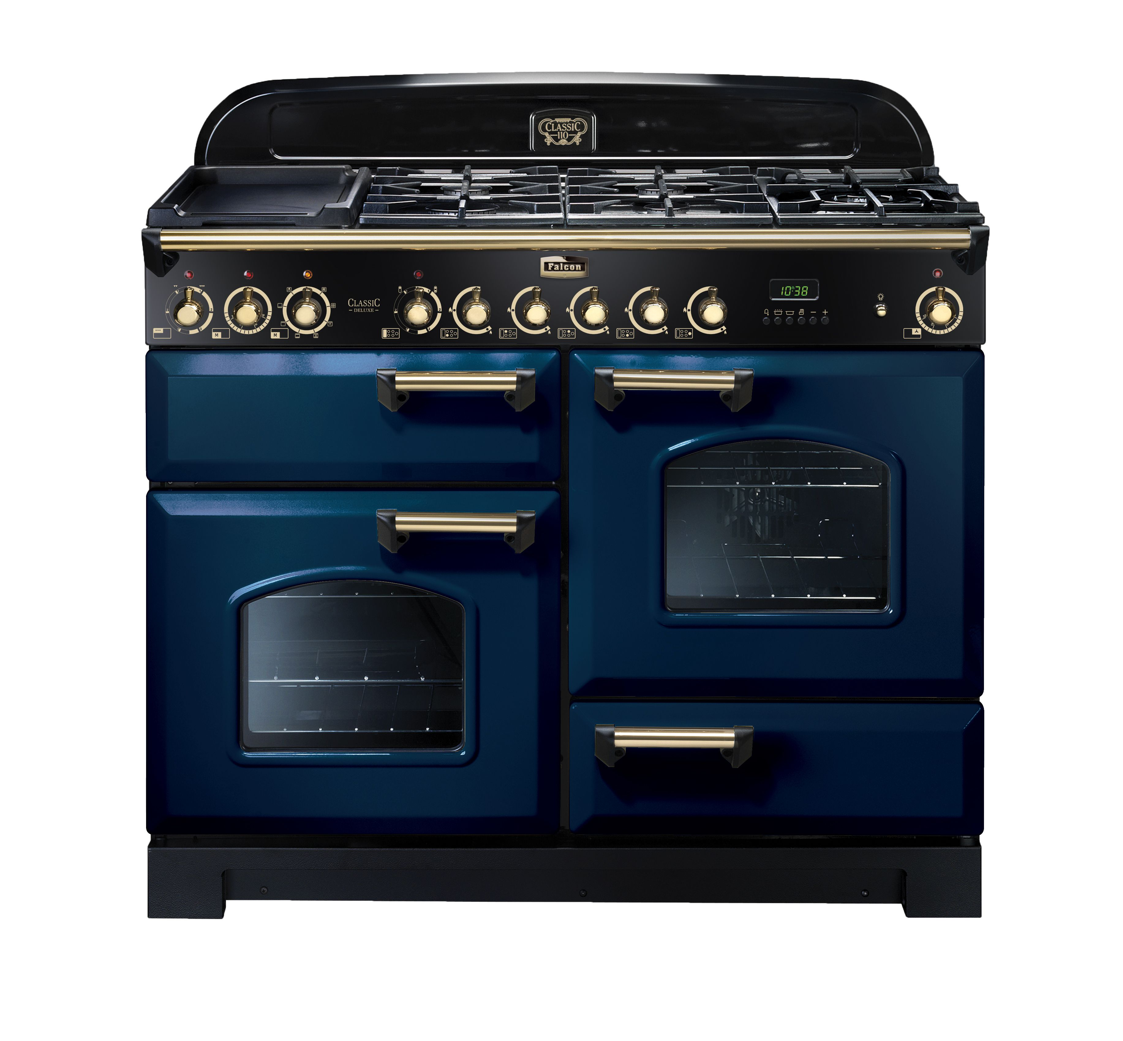 Falcon Classic Deluxe 110cm Royal Blue Dual Fuel Upright Range Cooker With Brass Fittings Range Cooker Traditional Kitchen Decor Dual Fuel Range Cookers