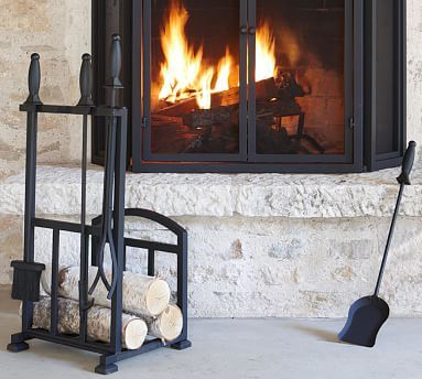 Pb Classic Fireplace Log Holder Tool Set With Images Classic Fireplace