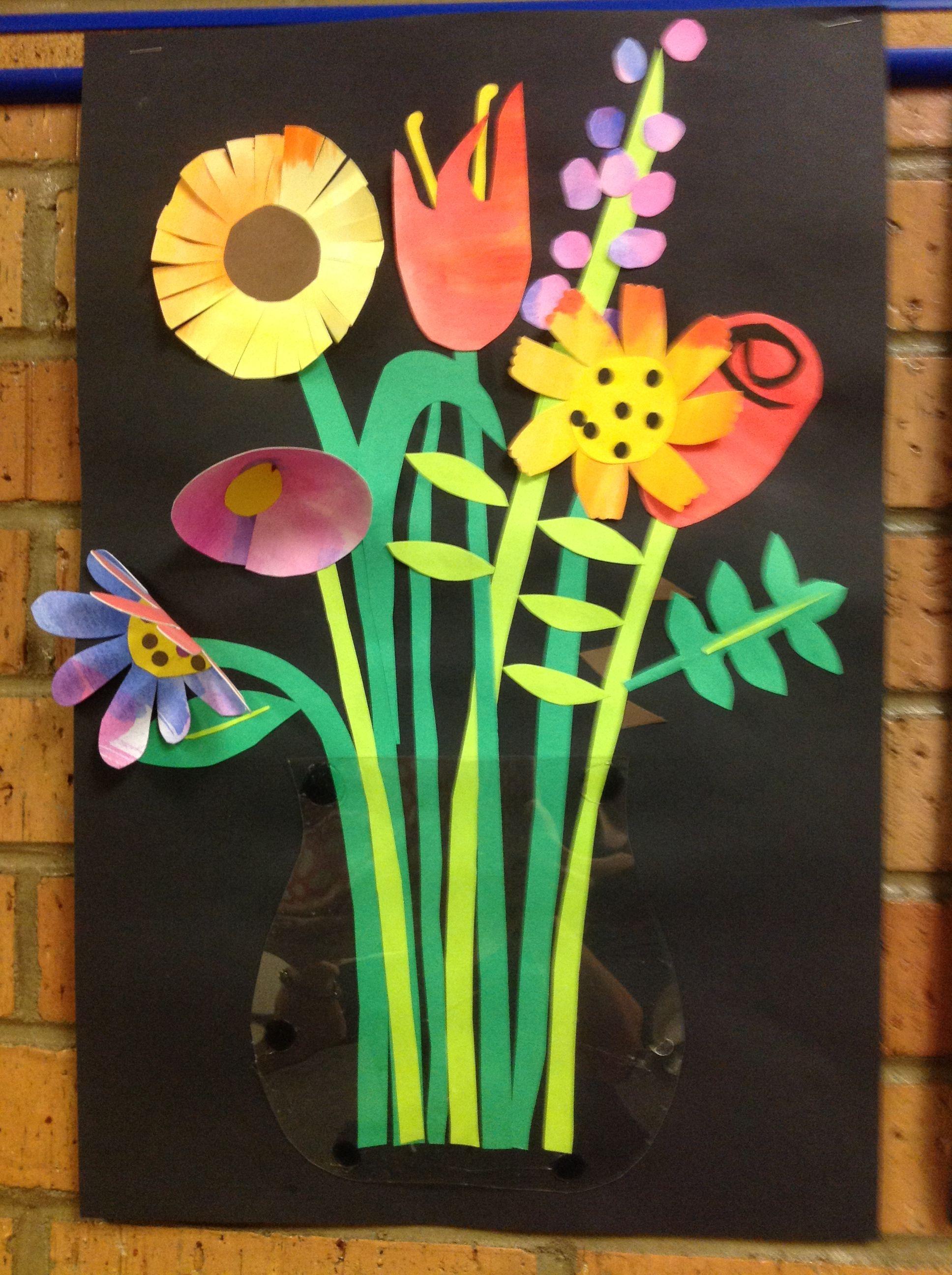 PAPER CUT BOUQUET   Art Class: Mixed Media   Spring art projects