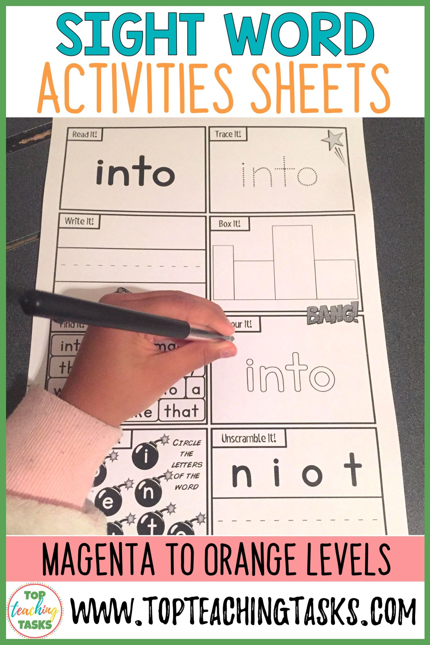 New Zealand Sight Words Activity Sheets For Magenta To