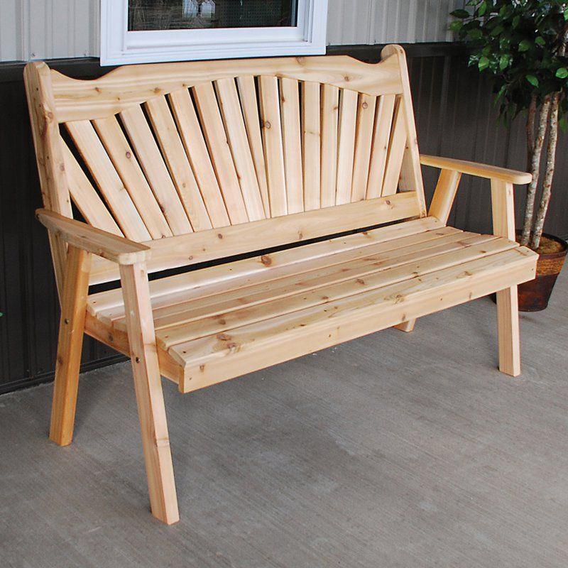 Outdoor A U0026 L Furniture Western Red Cedar Fanback Garden Bench Unfinished    483C UNFINISHED