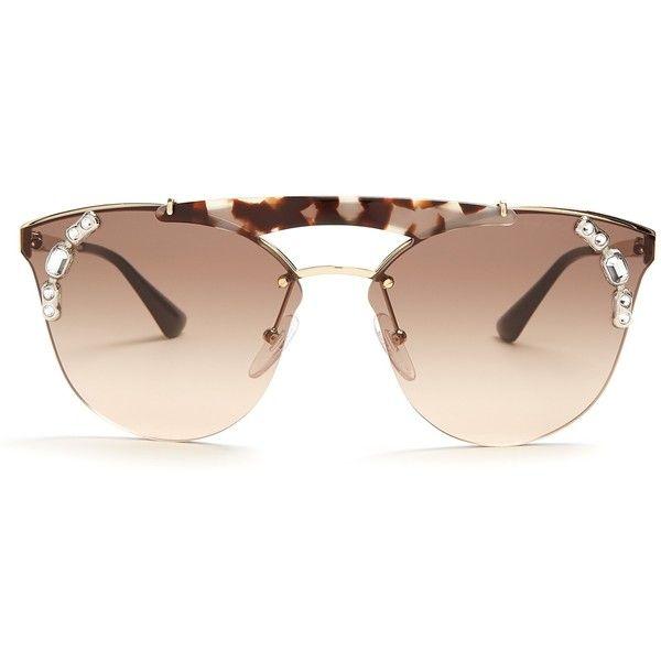 0ed99a8f028 ... new zealand prada eyewear embellished aviator metal sunglasses  featuring polyvore womens fashion accessories eyewear 8b141 bf83d