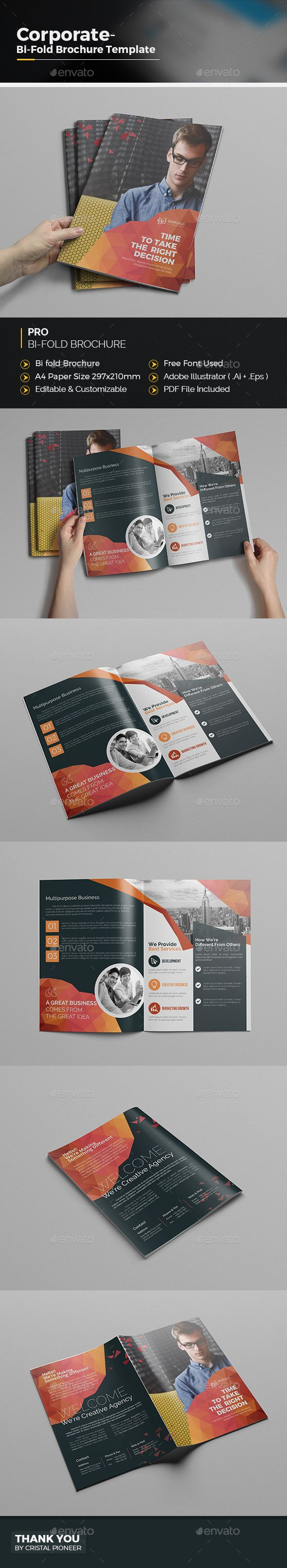 Abstract Bi Fold Brochure  Brochures Brochure Template And Ai
