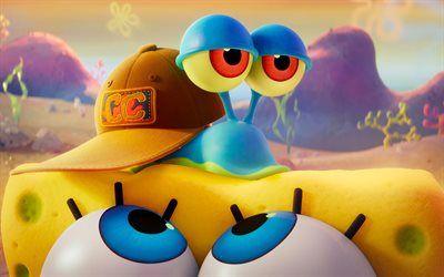 Descargar fondos de pantalla Gary, 4k, 2020 de la película, La Película de Bob esponja Esponja en la carrera, cartel, Bob esponja, arte 3D, Bob Esponja besthqwallpapers.com