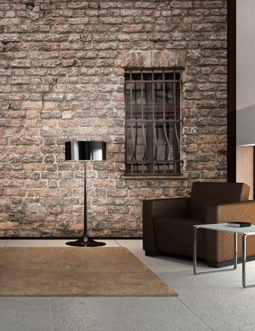 Carta da parati muro in mattoni con finestra carta da for Carta da parati muro di mattoni