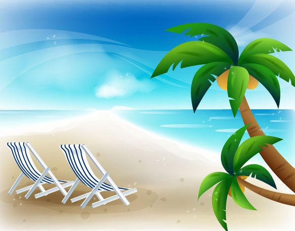 Beach Chair Vector beach chairs beach landscape vector graphics download | natural