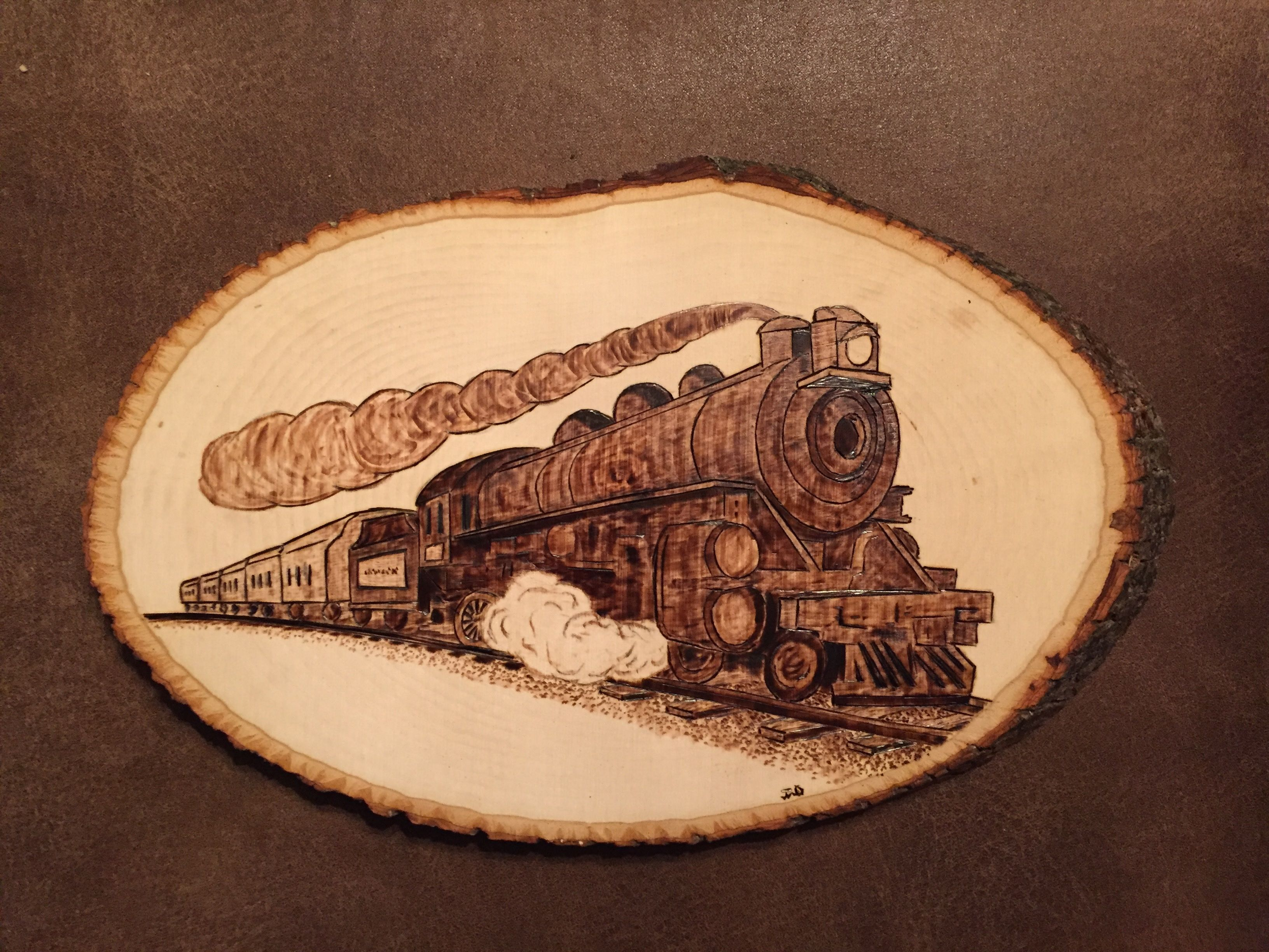 Another Train wood burnt plaque Another Train