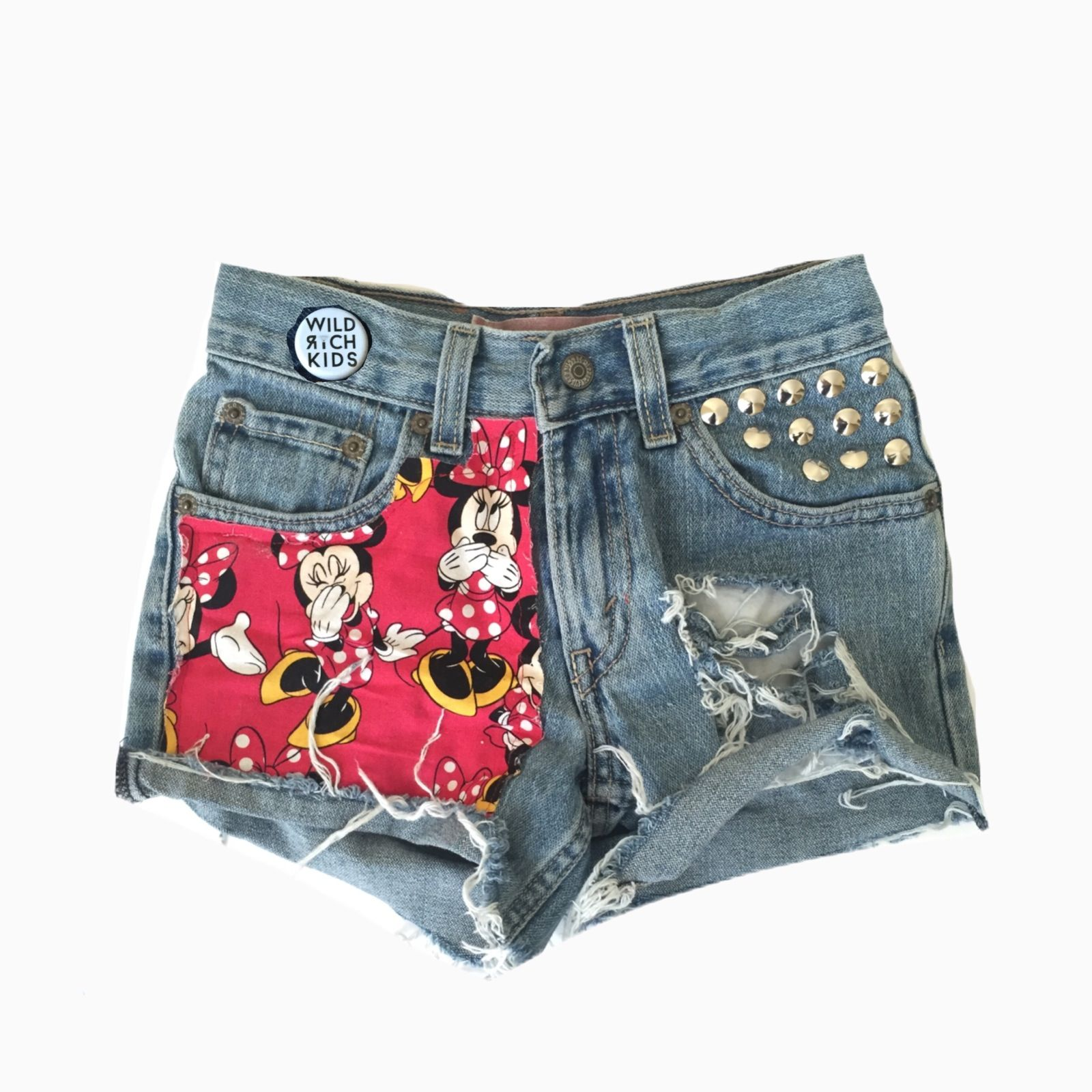 These shorts have a super cute and happy Minnie Mouse fabric sewn ...
