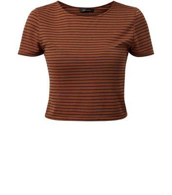 Rust Stripe Print Crop Top
