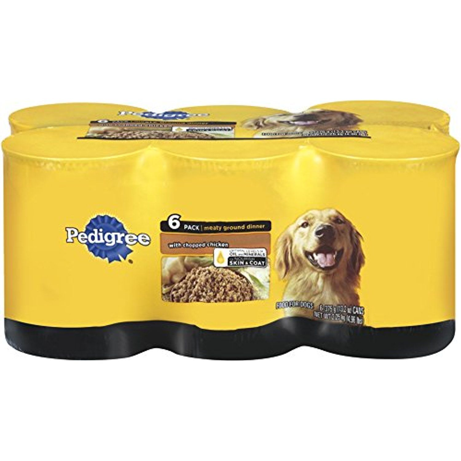 Pedigree meaty ground dinner with chopped chicken canned