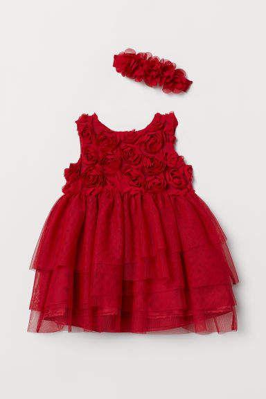 e146297d4 Dress and Hairband | Reilley | Red flower girl dresses, Baby girl ...