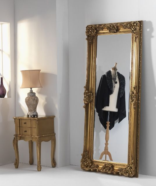 Tall Gold Ornate Leaner Full Length Mirror Finchley Gold
