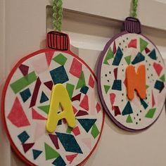 Snippin name ornaments with bob books preschool for Pinterest christmas craft ideas