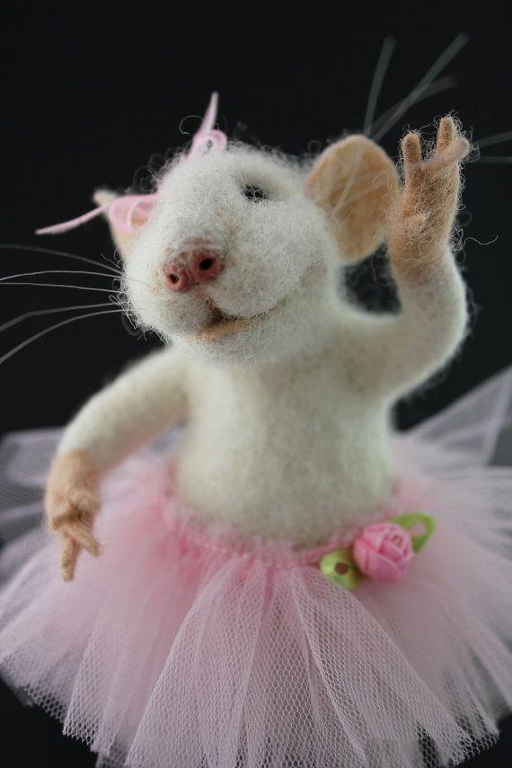 Mouse Ballerina Doll Needle Felt Animal OOAK White Soft Sculpture Ballerina Party Tulle Tutu Home Decor