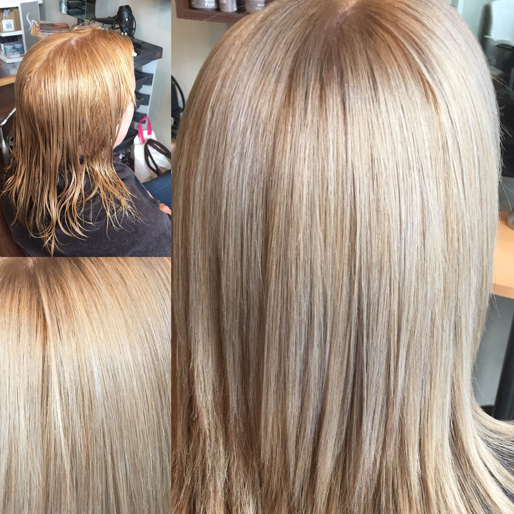 Before And After Regrowth Coloured To A Light Ash Blonde Using