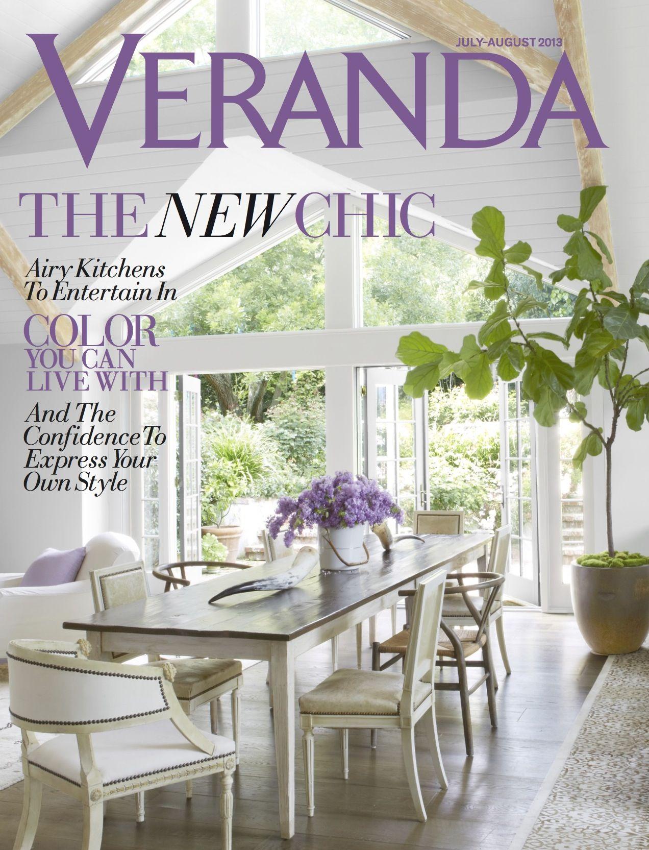 Veranda, July/August 2013. Love these wishbone chairs. Great way to ...