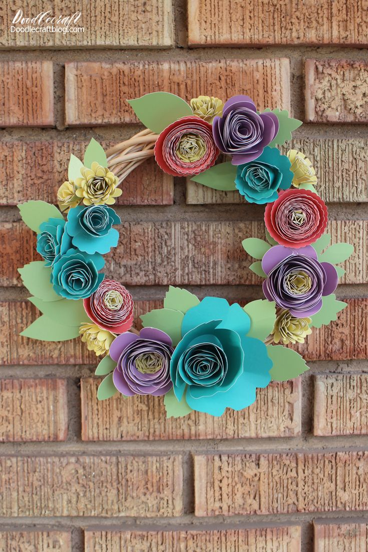 Rolled Paper Flower Spring Wreath With Cricut Explore Air 2