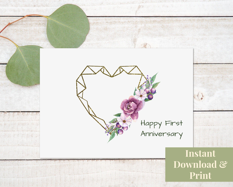 Printable First Anniversary Card Digital Download 50th Anniversary Cards Anniversary Cards Cards