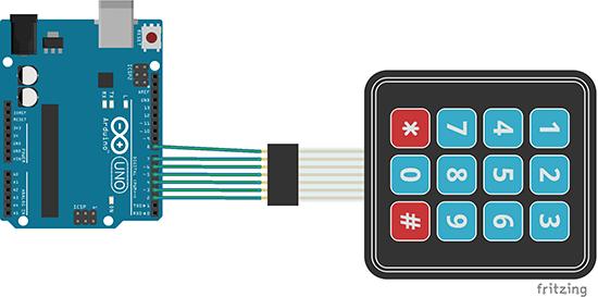 Membrane Keypad with Arduino Schematic Diagram | Random Nerd