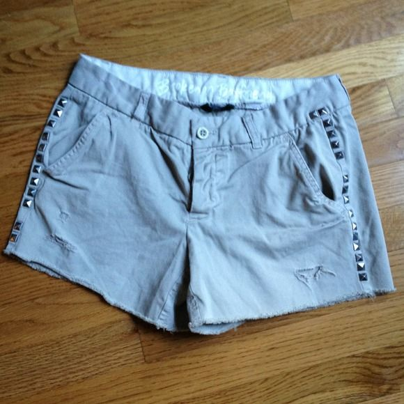 saleJcrew broken in boyfriend cutoffs Light olive color. very intentionally distressed & 'broken in' chinos . Boyfriend fit. Could fit size 2 or 4. Worn & washed twice. Really soft & comfortable. Matte silver pyramid studs. Spaced to look like some are missing. Relaxed fit. J. Crew Other