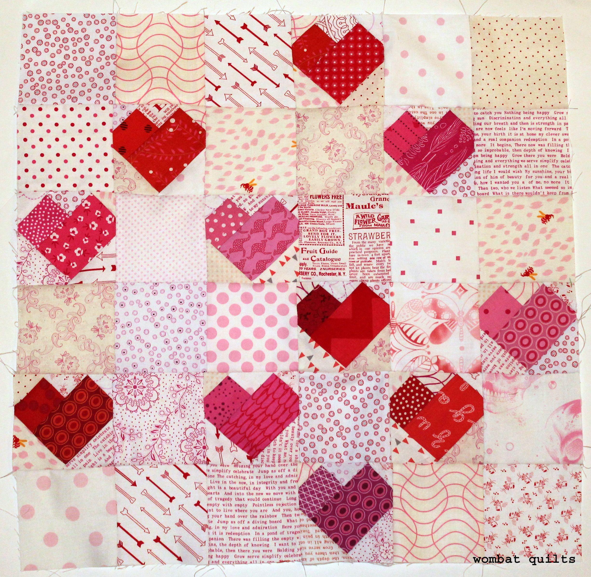 Sweet heart quilt block from Wombat Quilts | Quilt Inspiration ... : heart quilt blocks - Adamdwight.com