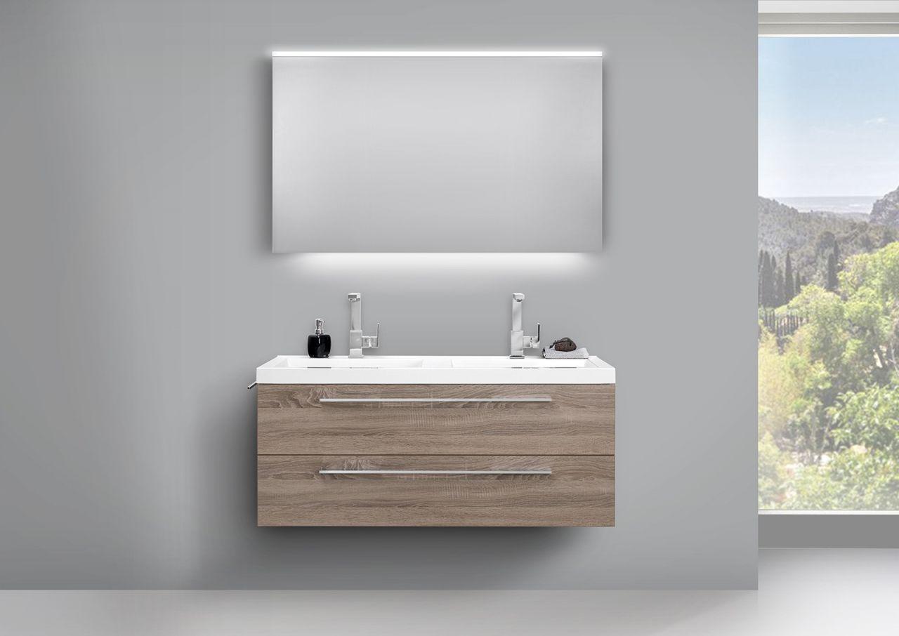 Badezimmer Komplettset ~ Doppelwaschtisch 120cm und led lichtspiegel badezimmer set trüffel