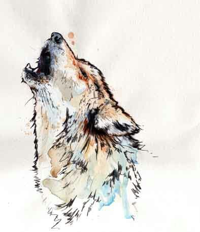 """Watercolor wolf tattoo. """"Throw me into the wolves, I'll come back leading the pack."""""""