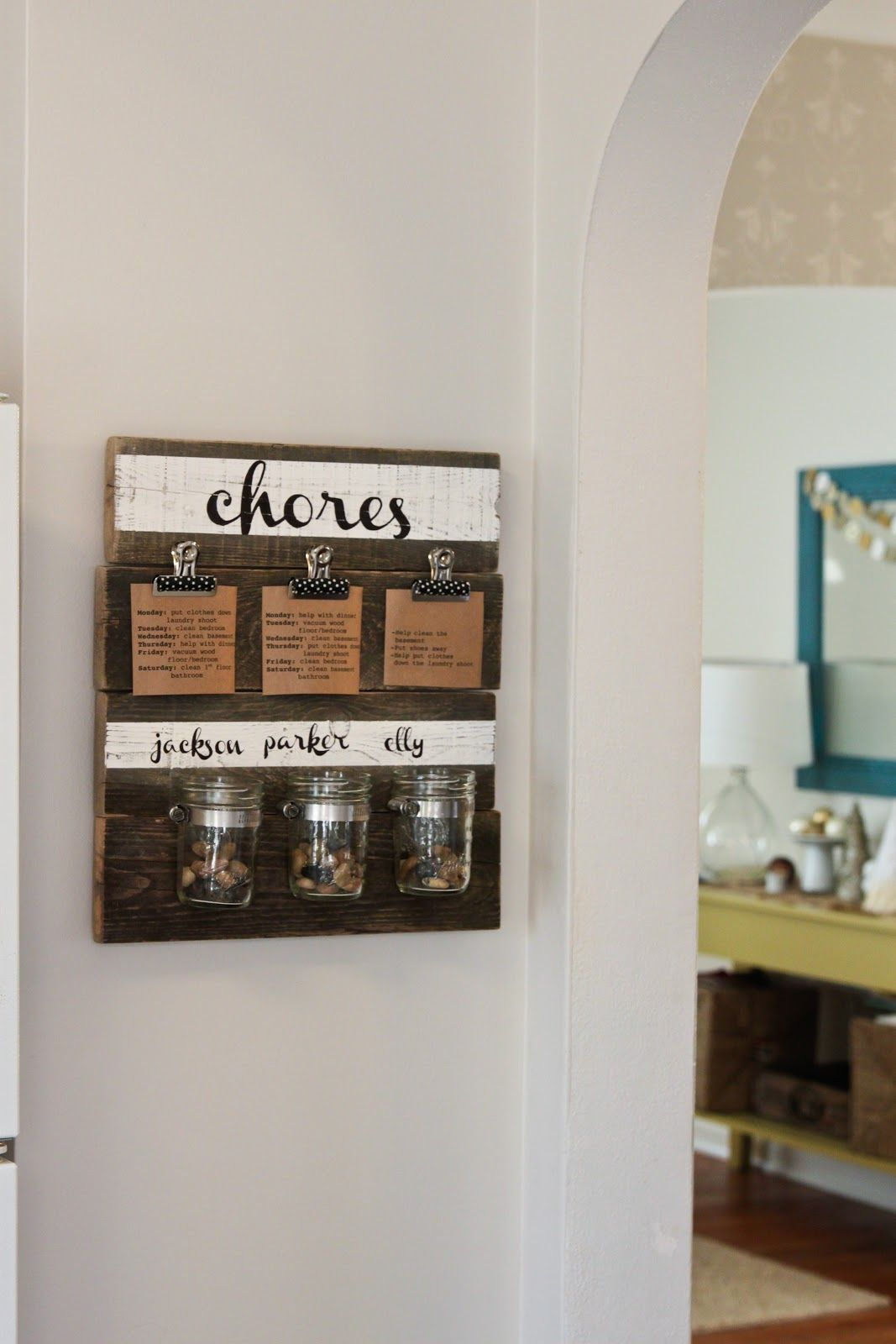 Kitchen Wall Organization Not As A Chore Chart But Like The Wood With Clips And Jars For