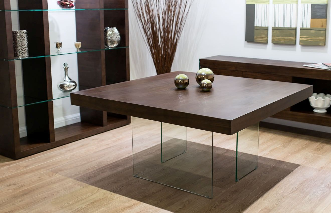 Unusual square kitchen table with glass legs design idea feat