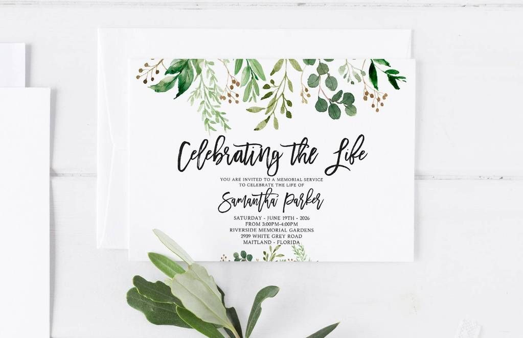 greenery funeral announcement invitation mourning