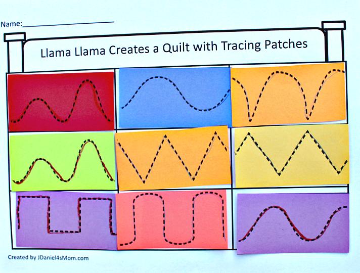 Llama Llama Red Pajama Quilt Block Tracing Activity Llama Llama