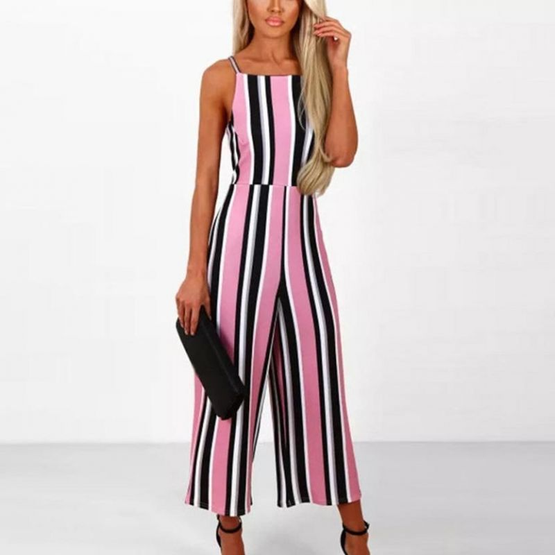 5753eb497d0e 2018 ladies simple long trousers summer ladies women sleeveless striped  jumpsuit casual clubwear wide leg pants outfit  polyester  jumpsuits  casual  ...