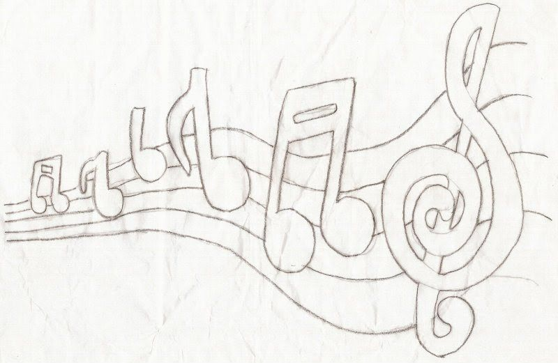 Notas Musicais Patchwork Nota Musical Desenho E Riscos Para Pintura
