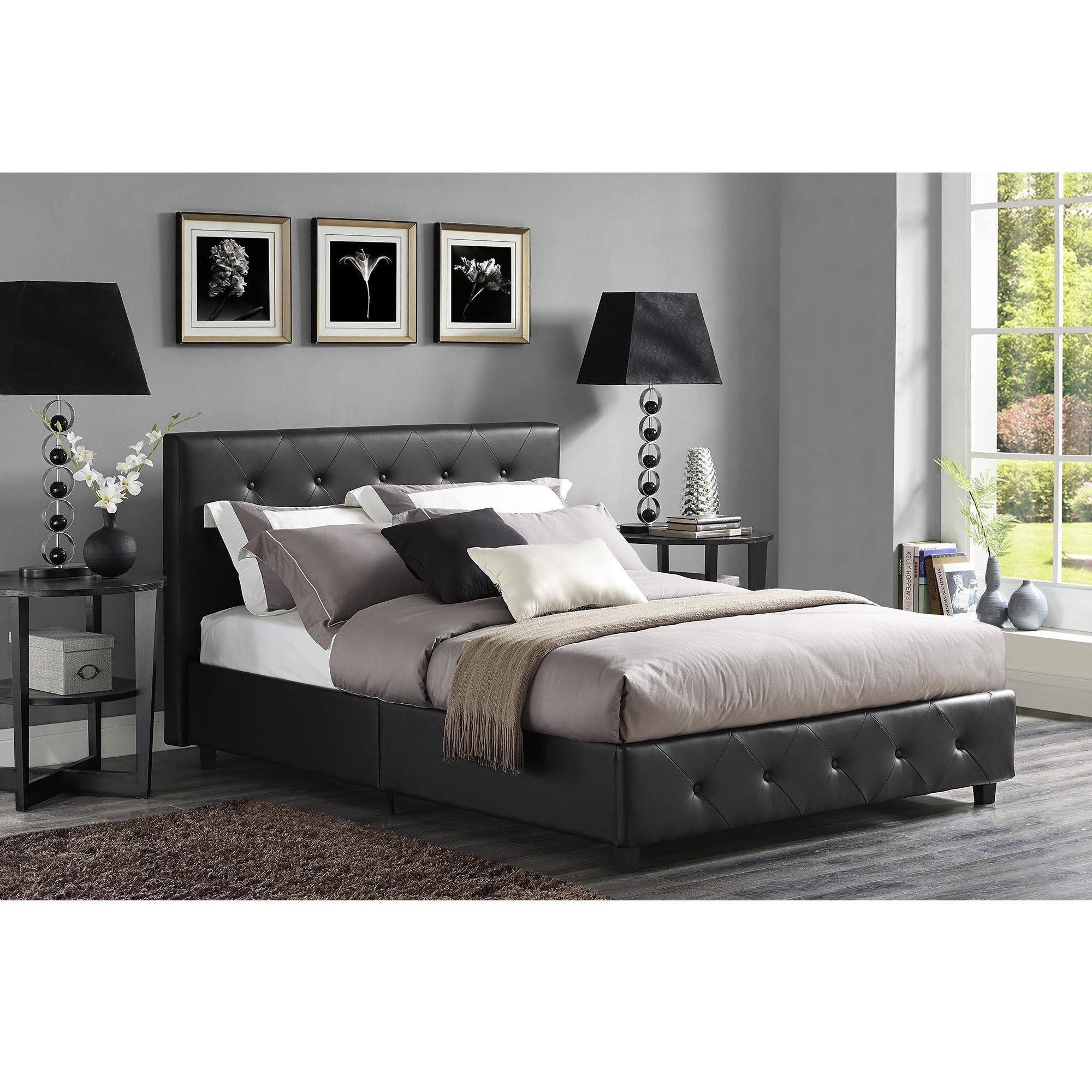 dhp dakota black faux leather upholstered bed by dhp. Black Bedroom Furniture Sets. Home Design Ideas