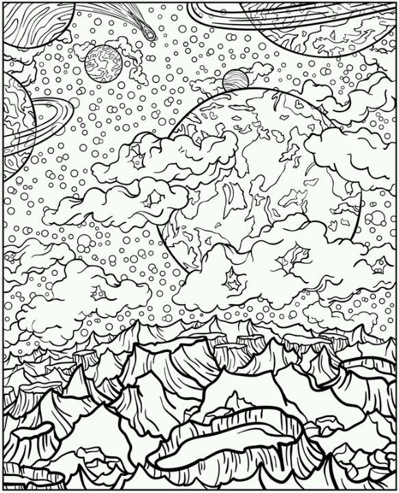 Planetary Color Me Space Coloring Pages Coloring Pages Adult