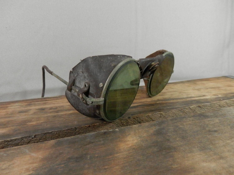 Vintage Green Glasses Welding Motorcycle Aviator Driving