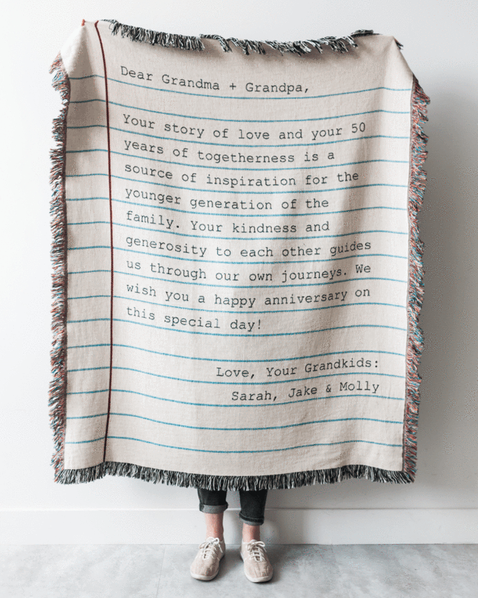 Love Letter Blanket Typewriter Unique gifts for kids