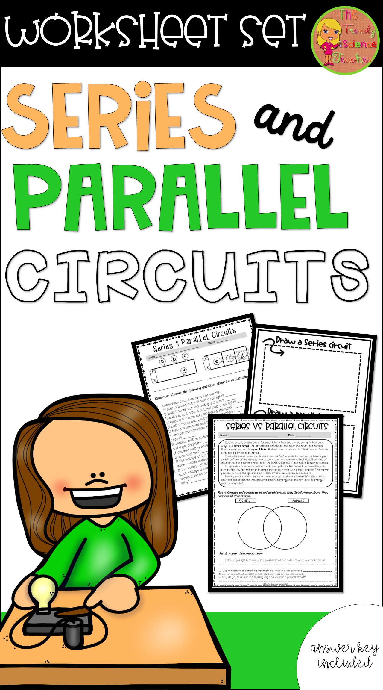 Series And Parallel Circuits Worksheet Set Creative Creations Example Of Circuit Use This As Review Reinforcement In During Your Next Electricity Unit