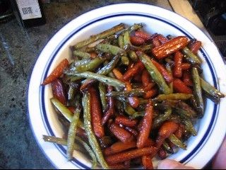 Roasted Carrots And Green Beans With A Honey And Balsamic Glaze