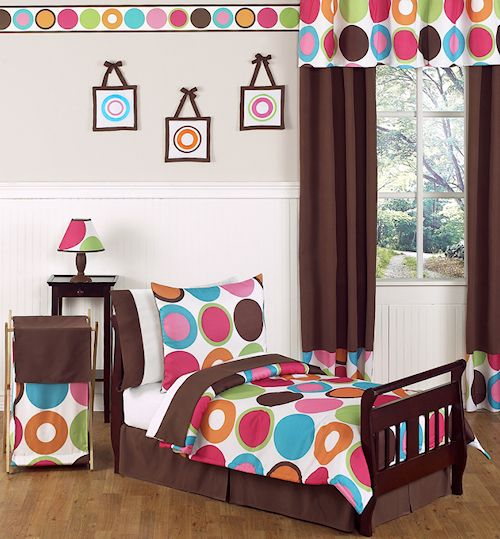 Best 90 Large Polka Dots Pink Brown Toddler Girl Bedding 5Pc 400 x 300
